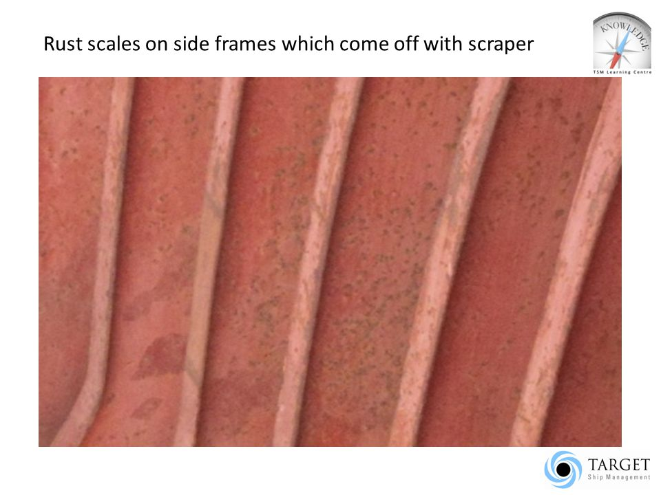 Rust scales on side frames which come off with scraper
