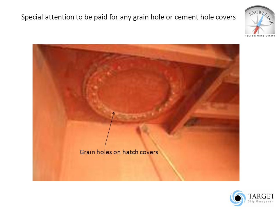 Special attention to be paid for any grain hole or cement hole covers