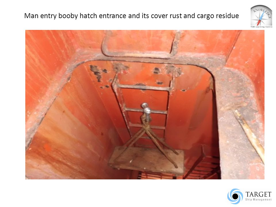 Man entry booby hatch entrance and its cover rust and cargo residue