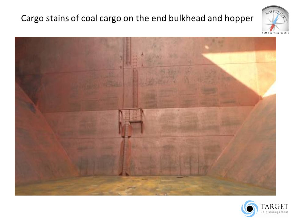 Cargo stains of coal cargo on the end bulkhead and hopper