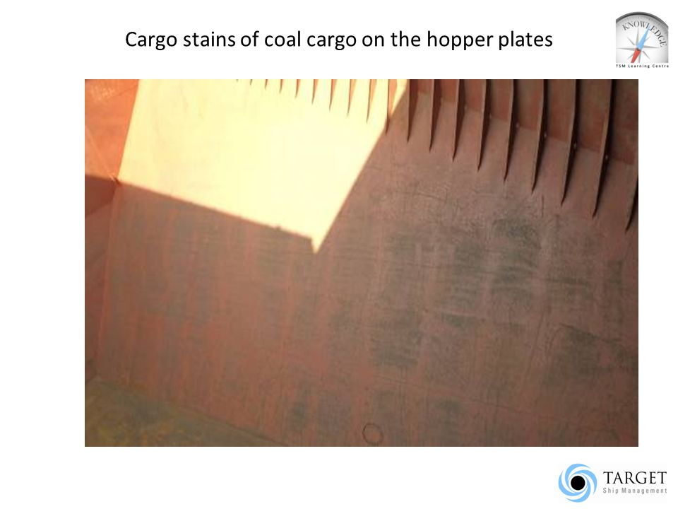 Cargo stains of coal cargo on the hopper plates