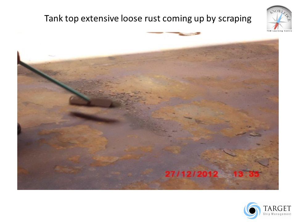 Tank top extensive loose rust coming up by scraping