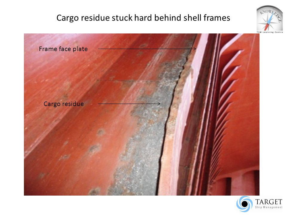 Cargo residue stuck hard behind shell frames