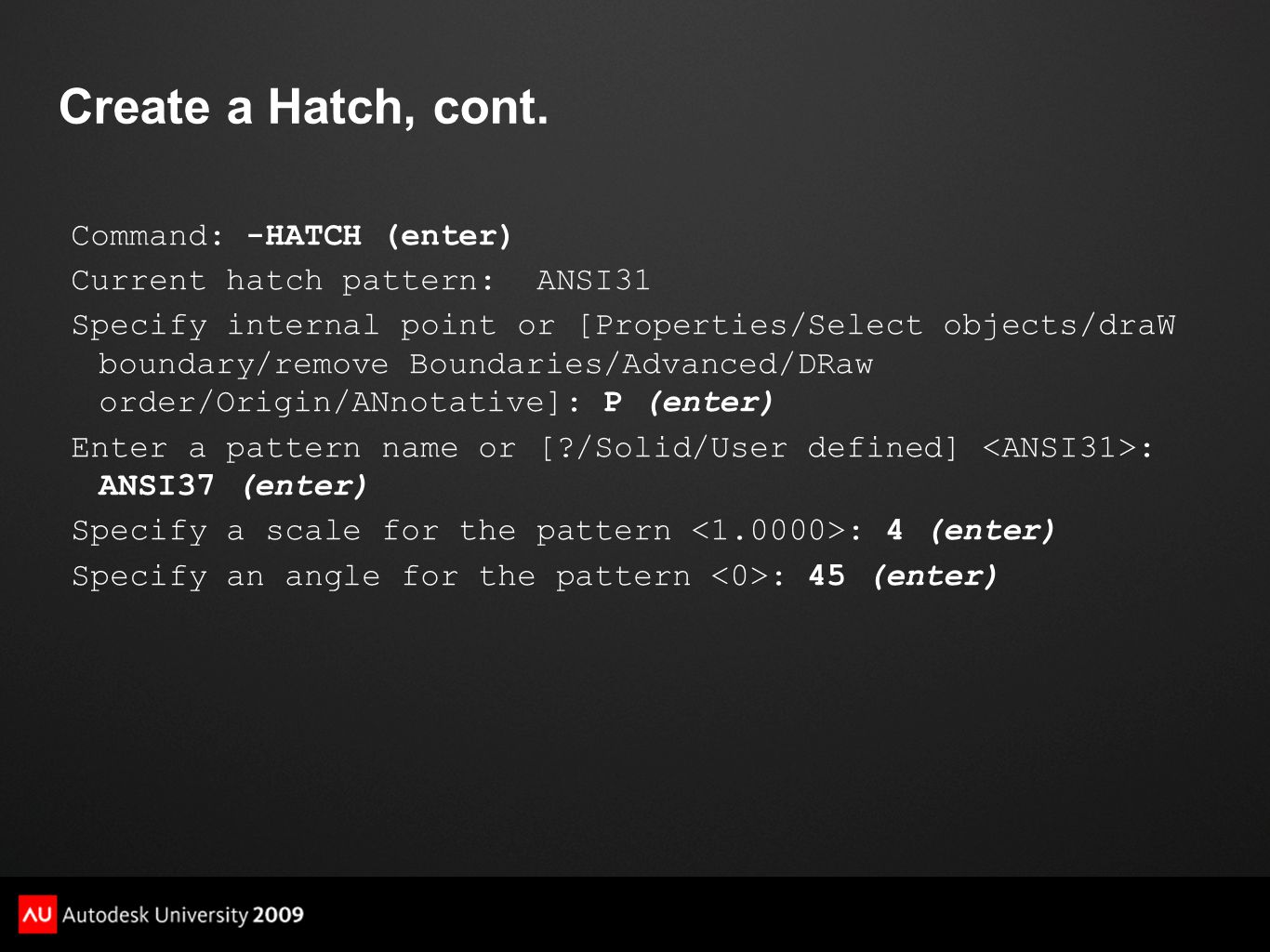 Create a Hatch, cont.