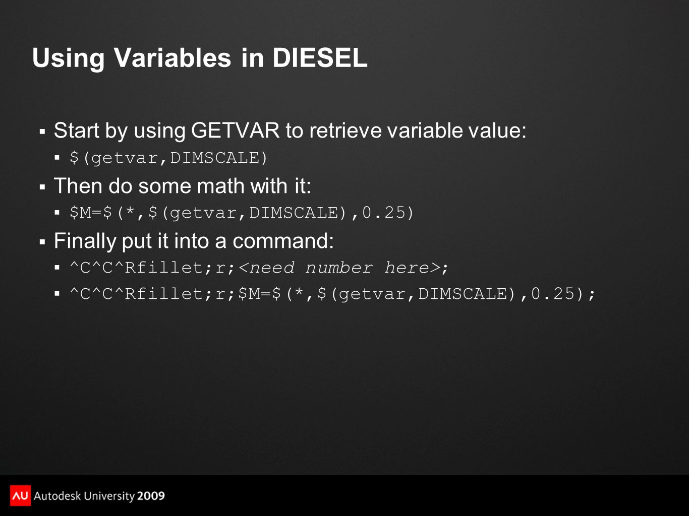 Using Variables in DIESEL