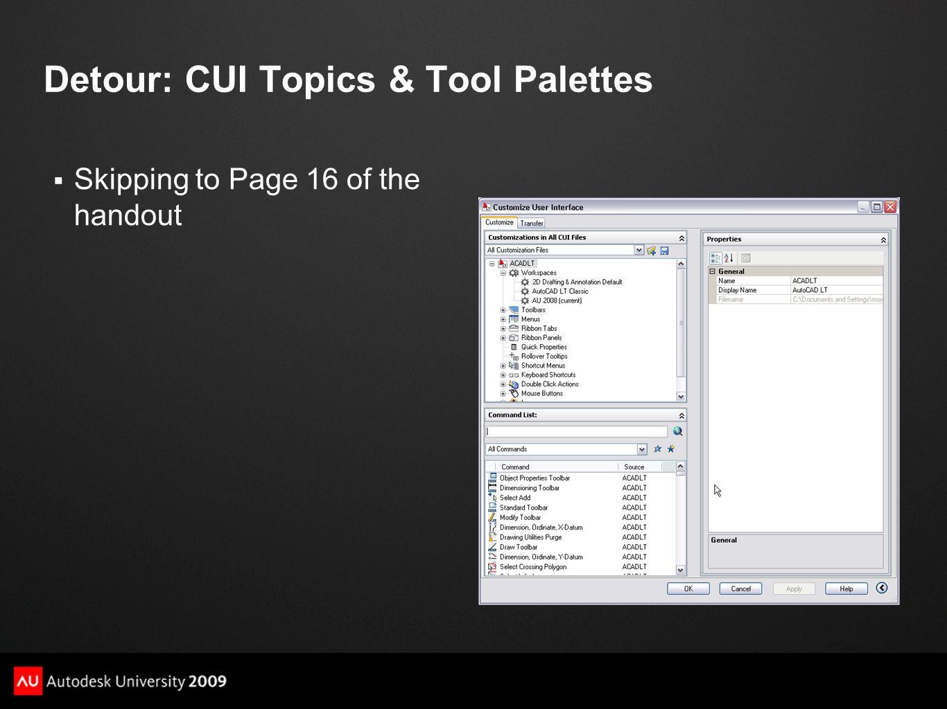 Detour: CUI Topics & Tool Palettes