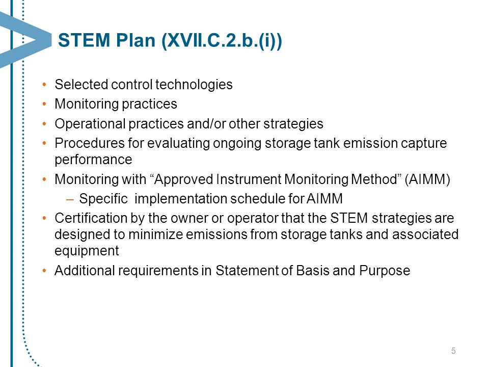 STEM Plan (XVII.C.2.b.(i)) Selected control technologies