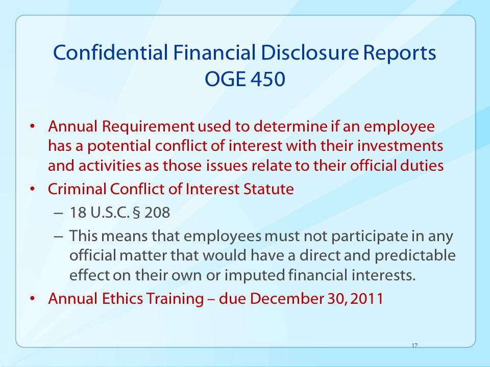 Confidential Financial Disclosure Reports OGE 450