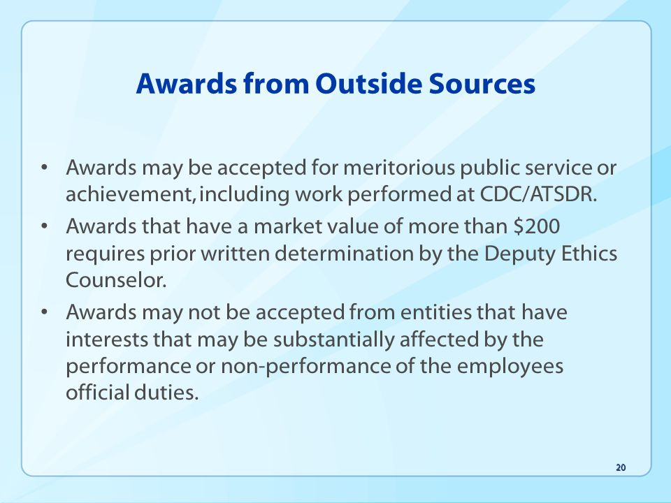 Awards from Outside Sources