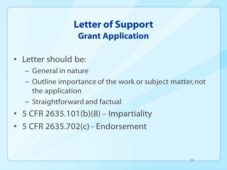 Letter of Support Grant Application