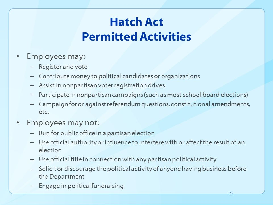 Hatch Act Permitted Activities