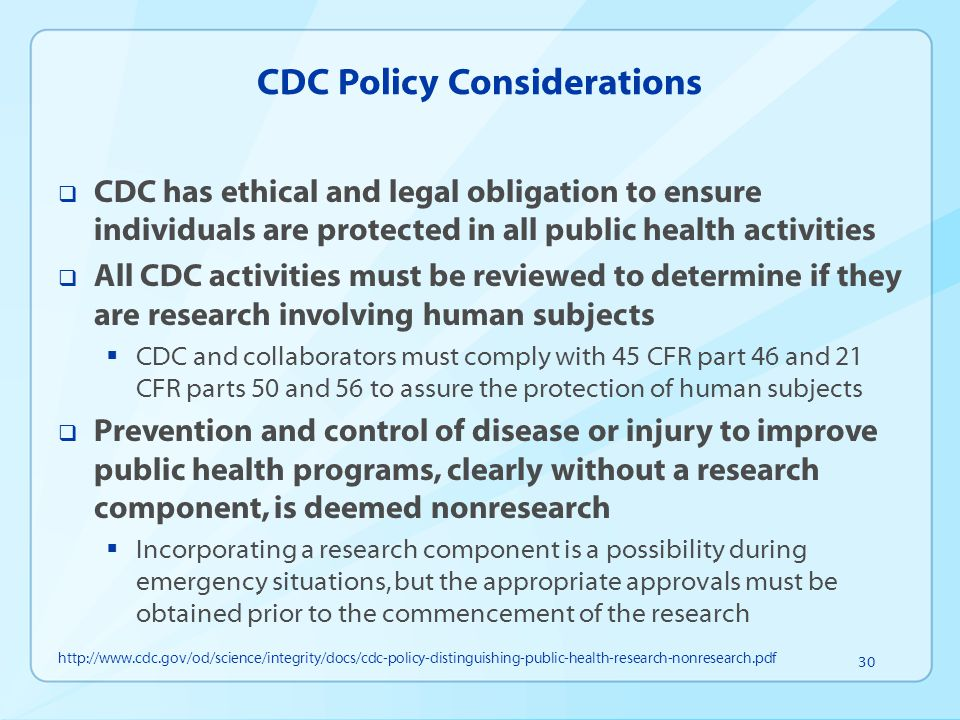 CDC Policy Considerations
