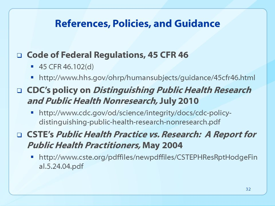 References, Policies, and Guidance
