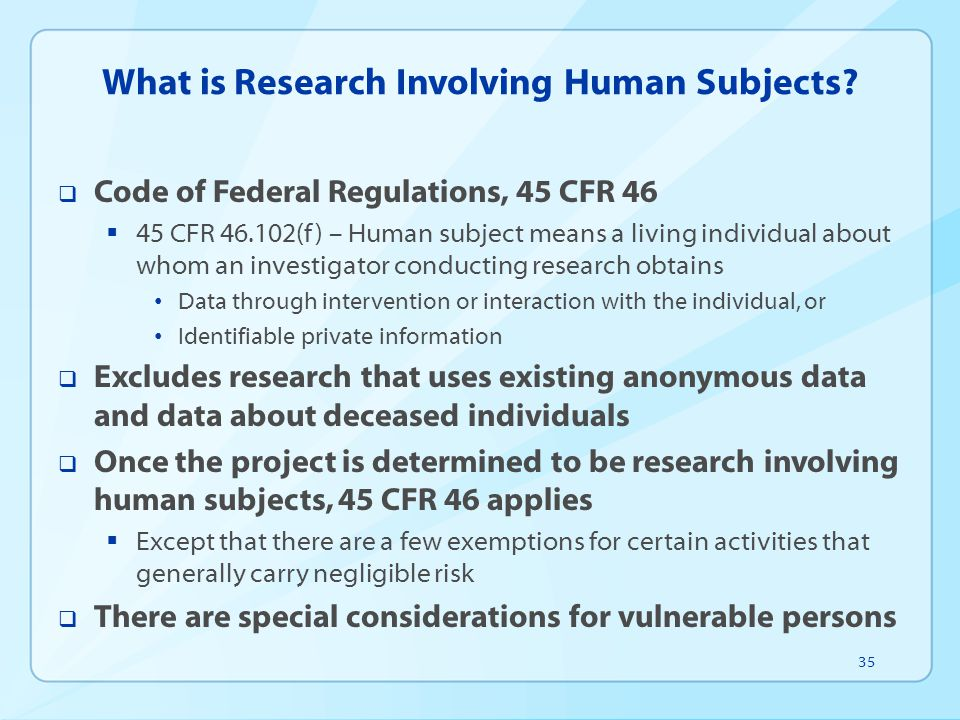 What is Research Involving Human Subjects