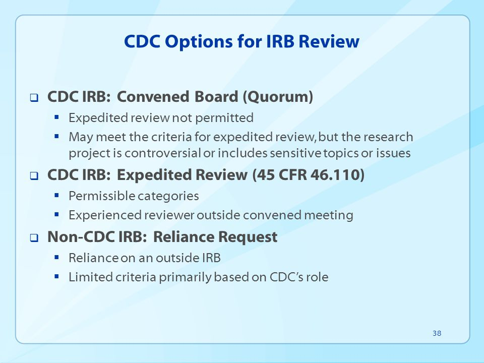 CDC Options for IRB Review