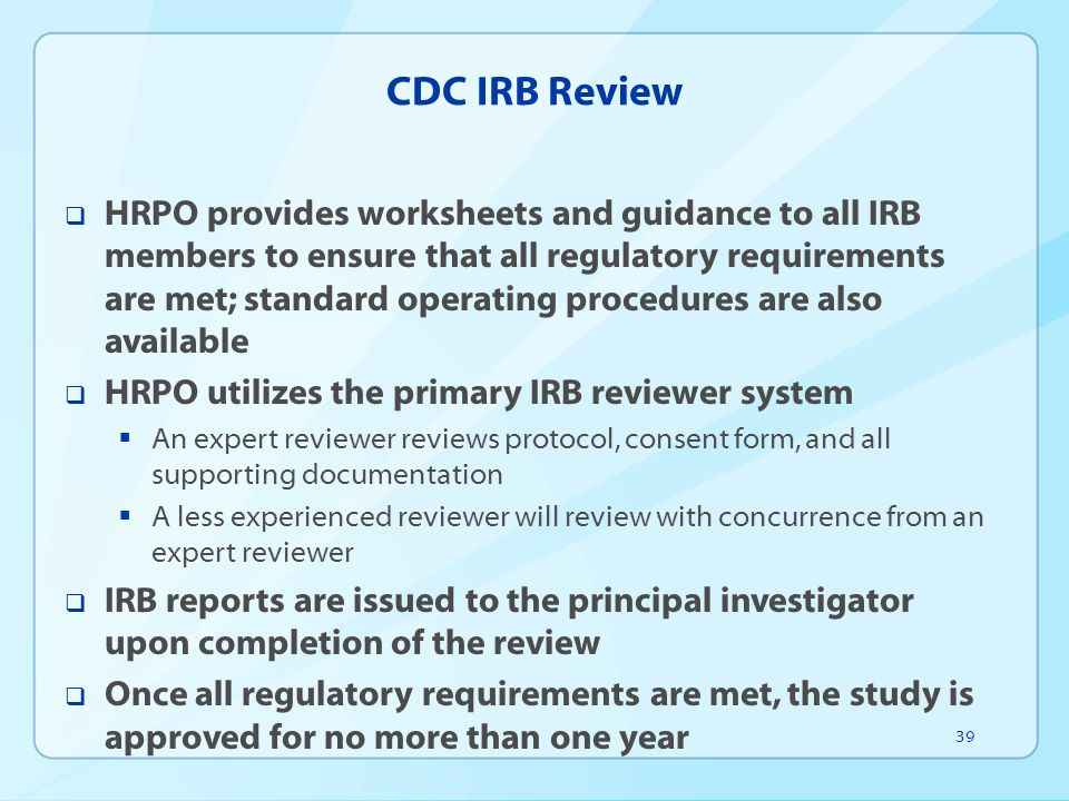 CDC IRB Review