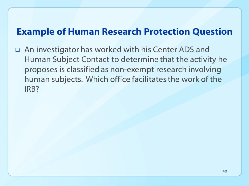Example of Human Research Protection Question