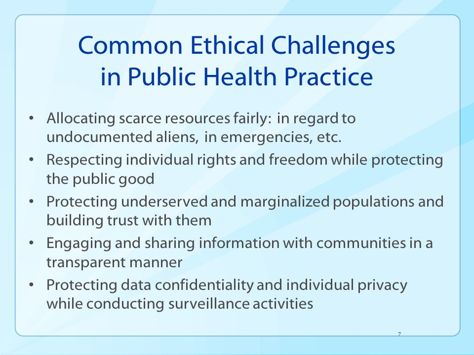 Common Ethical Challenges in Public Health Practice