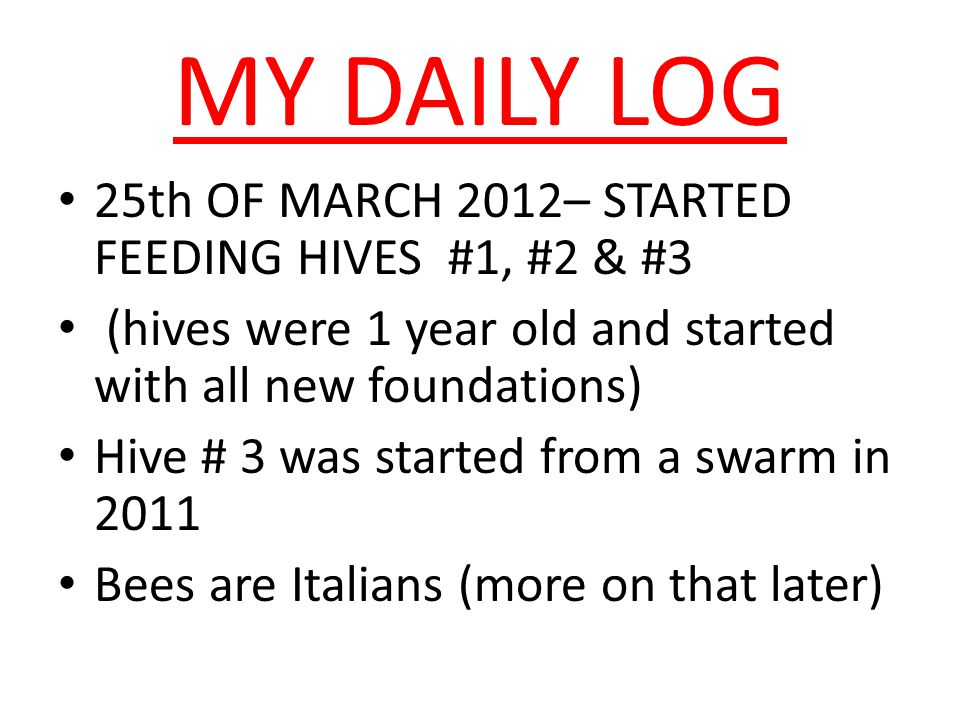 MY DAILY LOG 25th OF MARCH 2012– STARTED FEEDING HIVES #1, #2 & #3