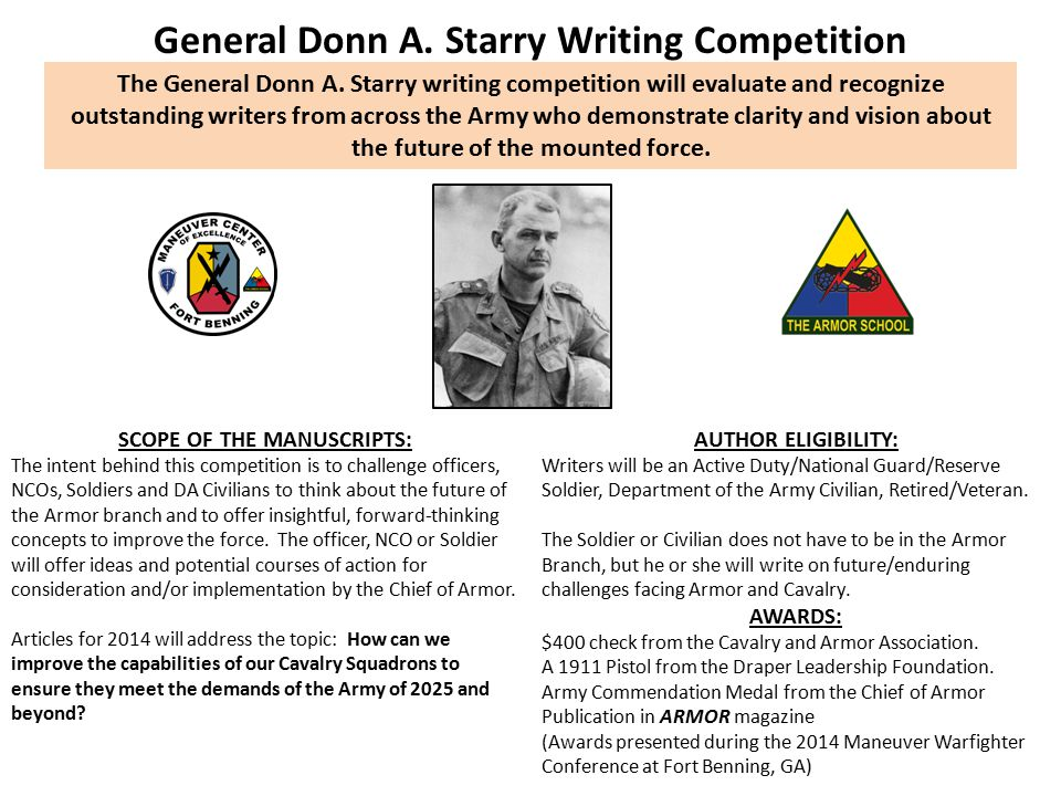 General Donn A. Starry Writing Competition SCOPE OF THE MANUSCRIPTS: