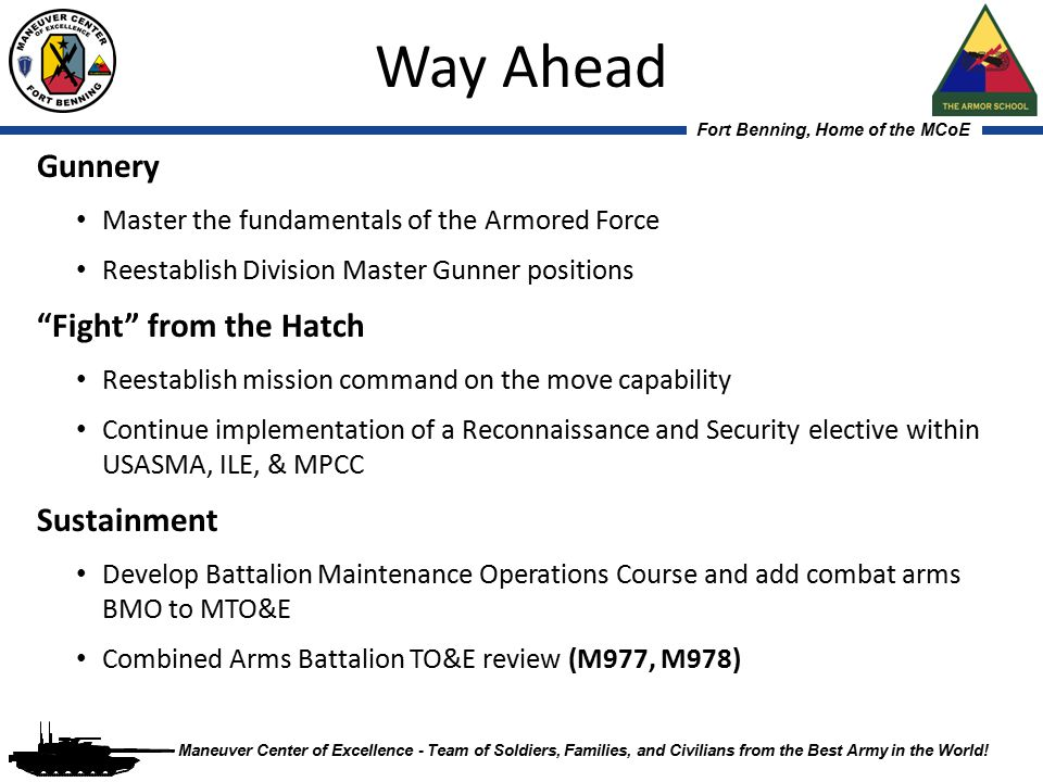 Way Ahead Gunnery Fight from the Hatch Sustainment