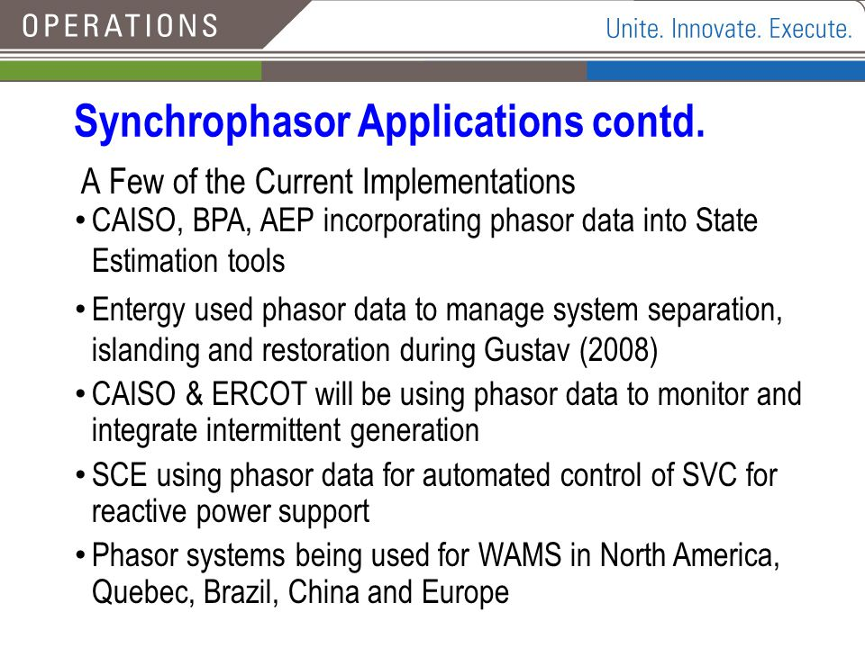 Synchrophasor Applications contd.