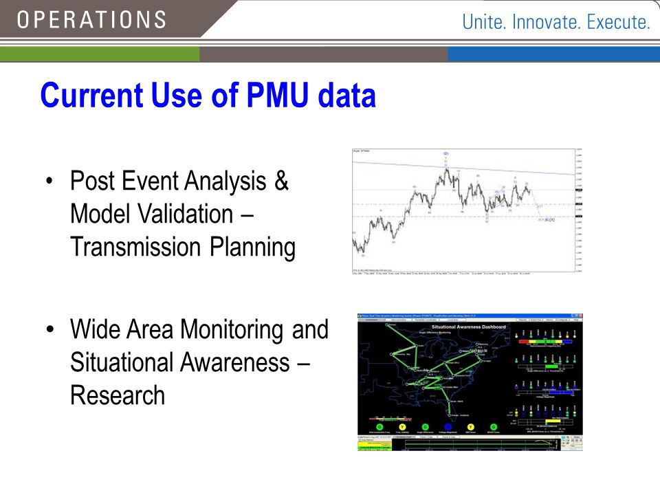 Current Use of PMU data Post Event Analysis & Model Validation – Transmission Planning.