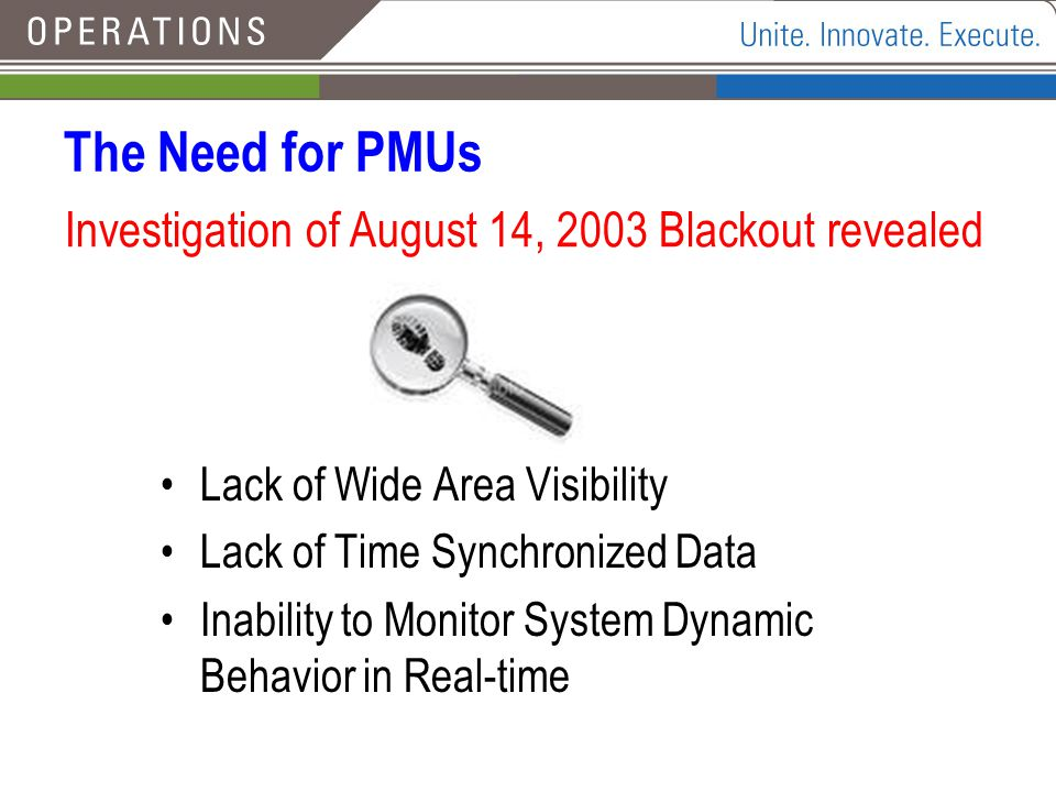 The Need for PMUs Investigation of August 14, 2003 Blackout revealed