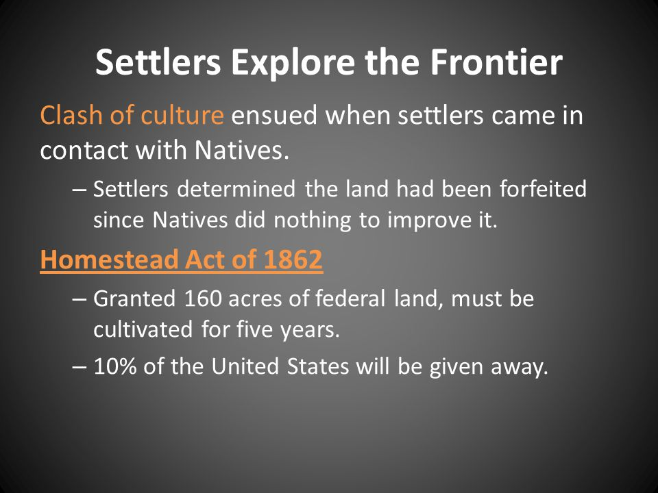 Settlers Explore the Frontier