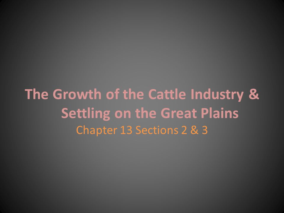 The Growth of the Cattle Industry & Settling on the Great Plains