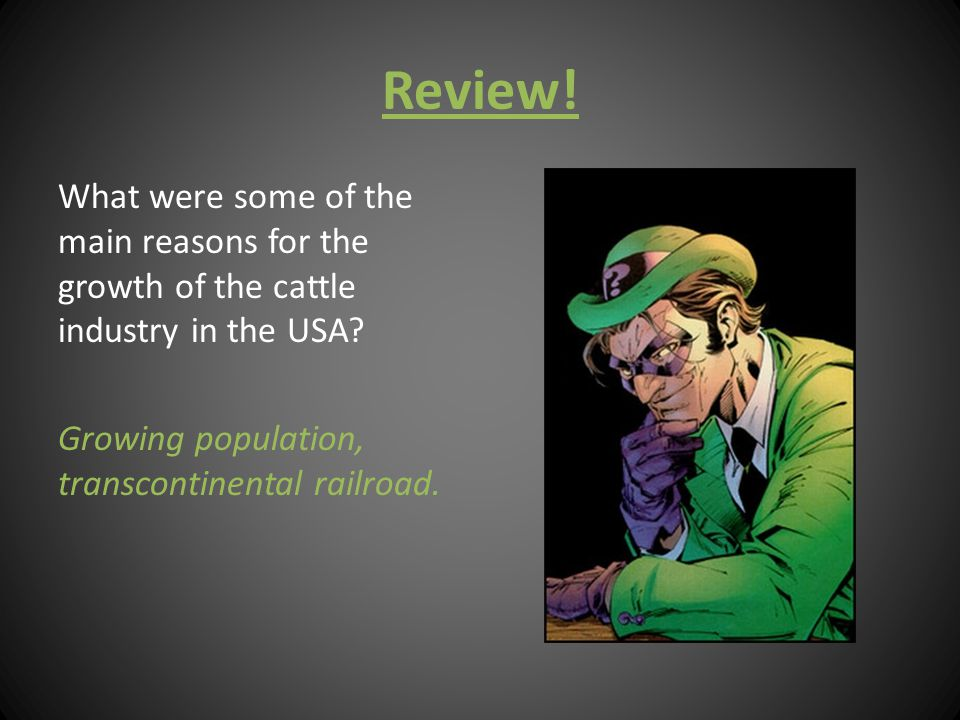 Review. What were some of the main reasons for the growth of the cattle industry in the USA.
