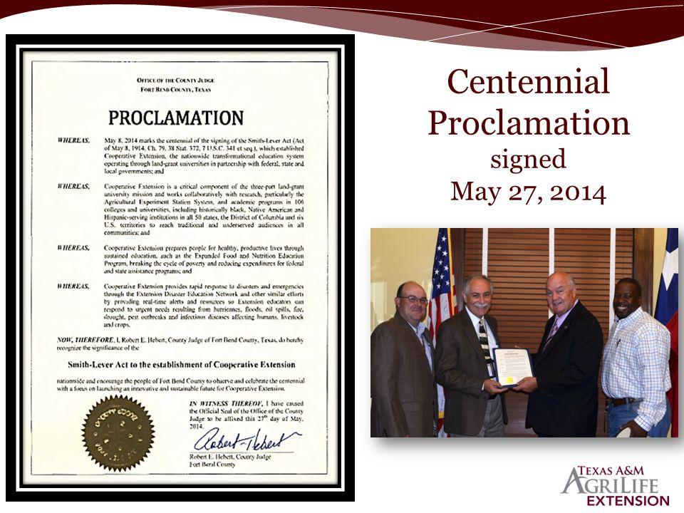Centennial Proclamation signed May 27, 2014