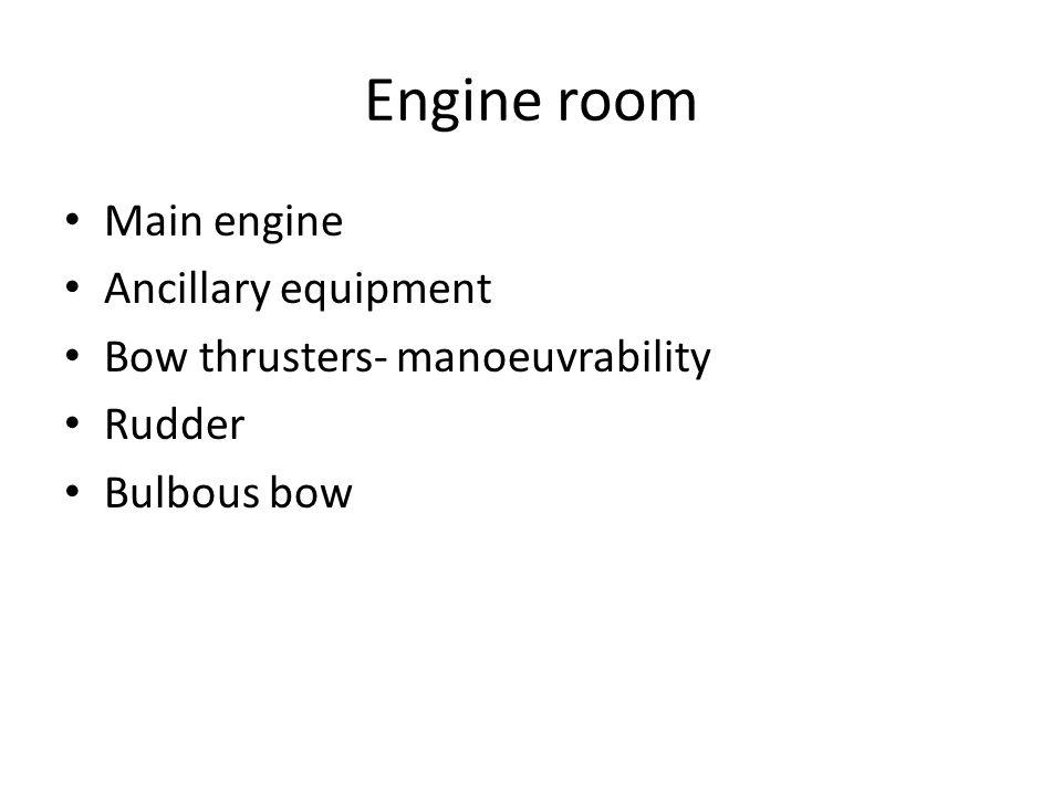 Engine room Main engine Ancillary equipment