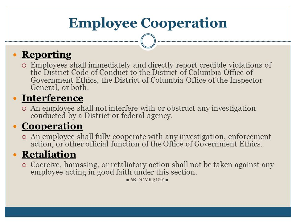 Employee Cooperation Reporting Interference Cooperation Retaliation