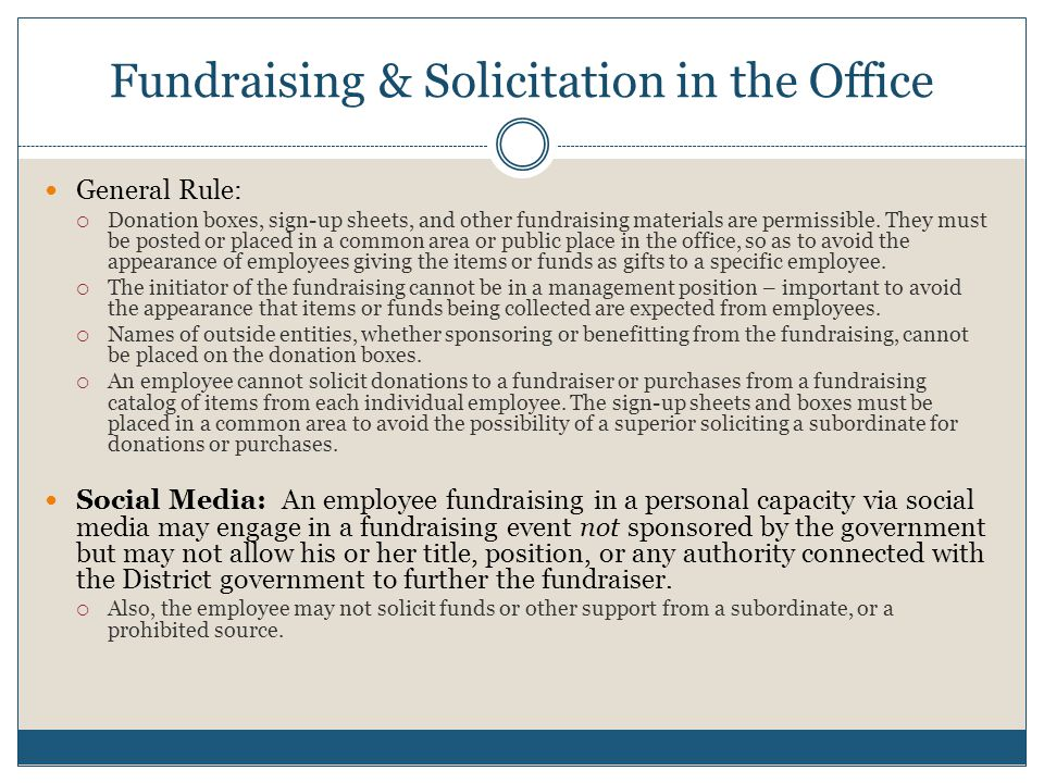 Fundraising & Solicitation in the Office
