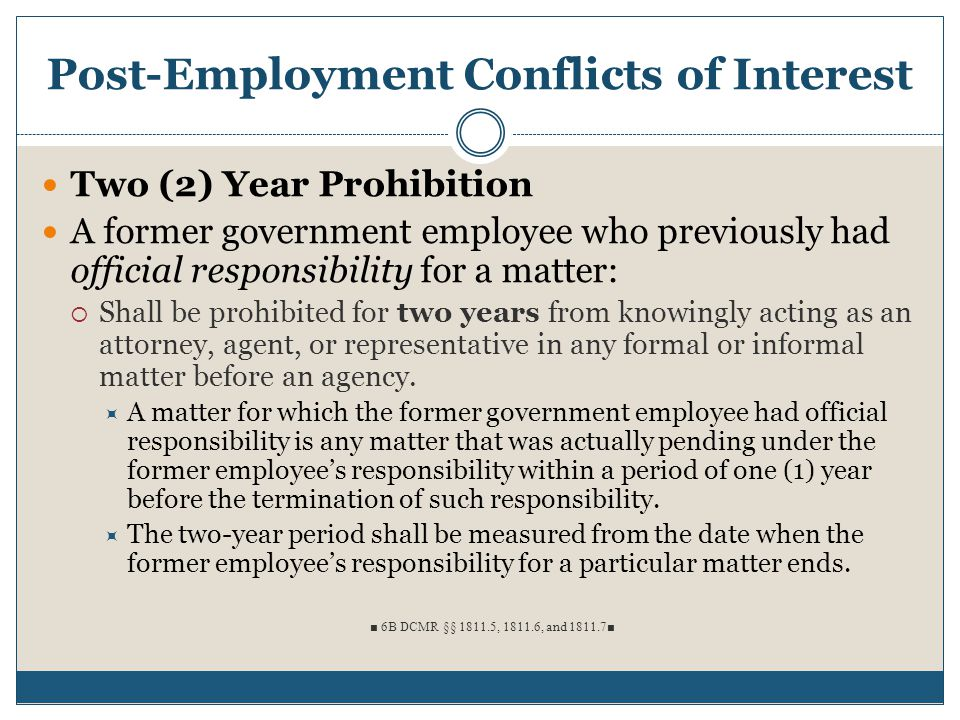Post-Employment Conflicts of Interest