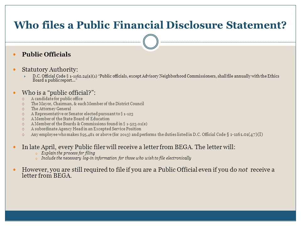 Who files a Public Financial Disclosure Statement