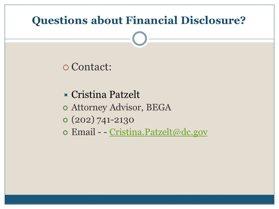 Questions about Financial Disclosure