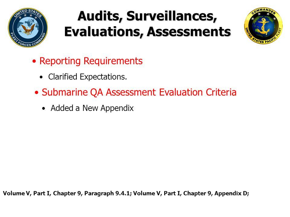Audits, Surveillances, Evaluations, Assessments