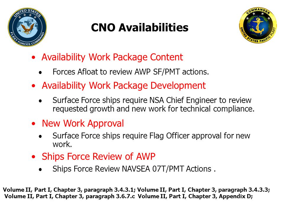CNO Availabilities Availability Work Package Content