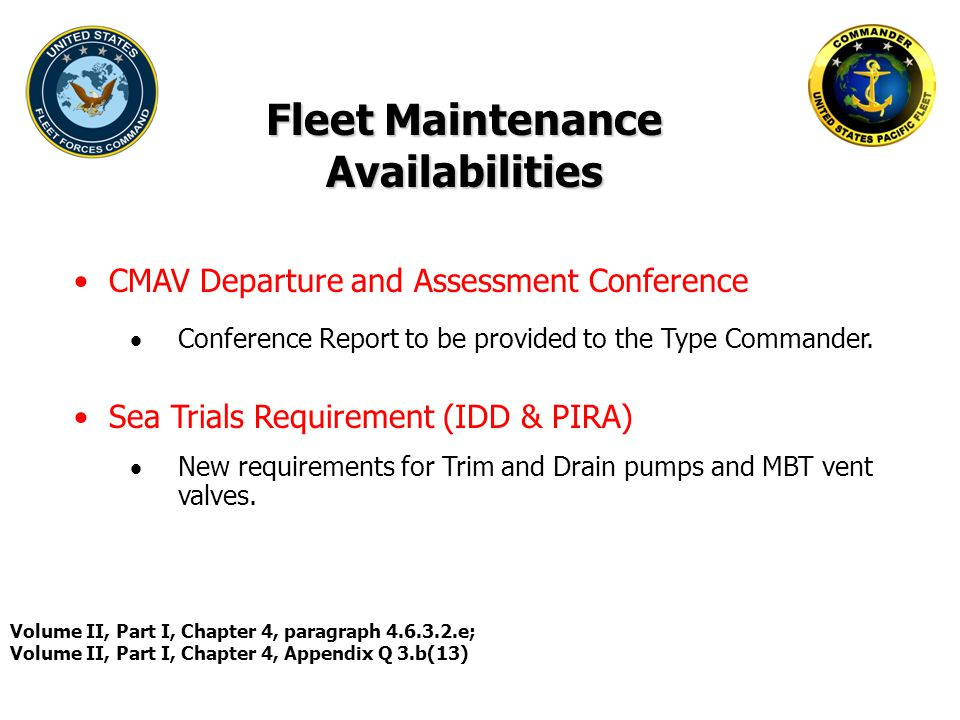 Fleet Maintenance Availabilities