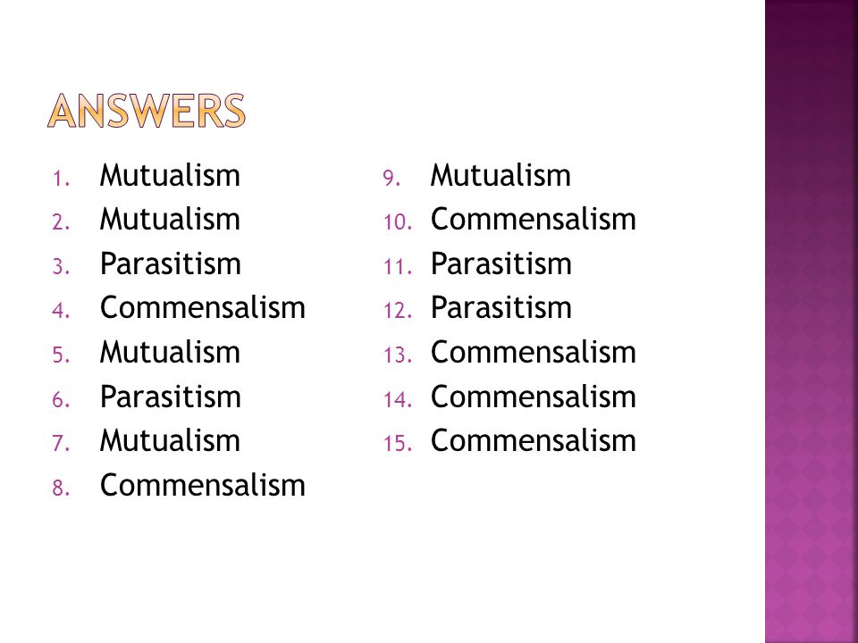 Answers Mutualism Parasitism Commensalism
