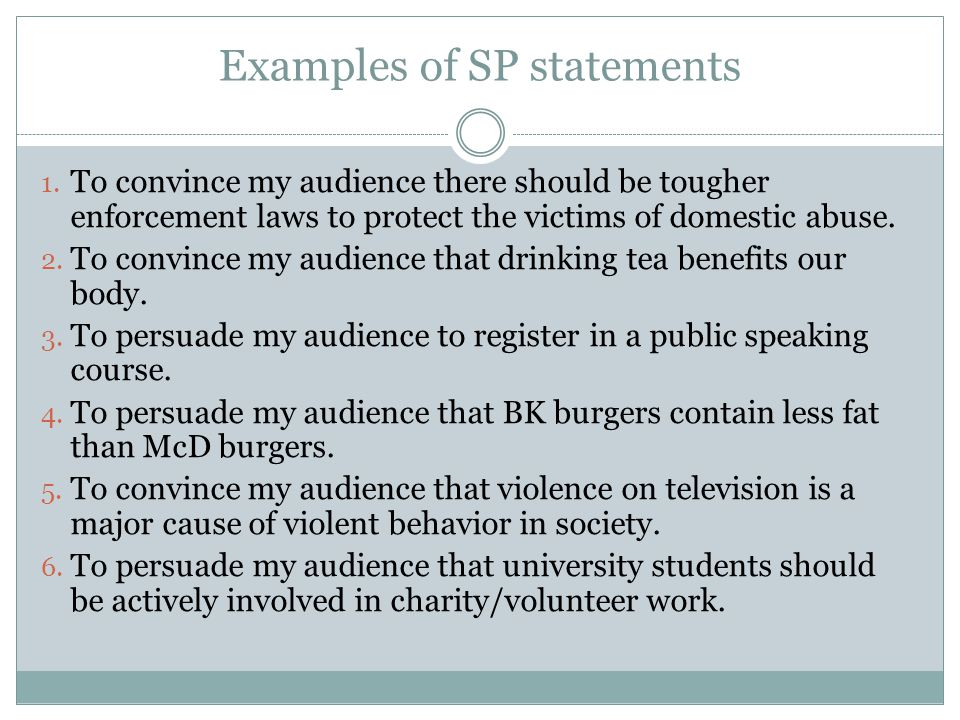 persuasive speech ppt  11 examples of sp statements