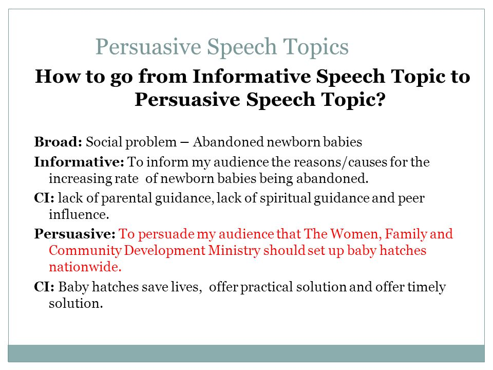informative and persuasive speech topics Informative, descriptive, and persuasive writing informative essays it is usually helpful to address your audience's previous conceptions about the topic and.