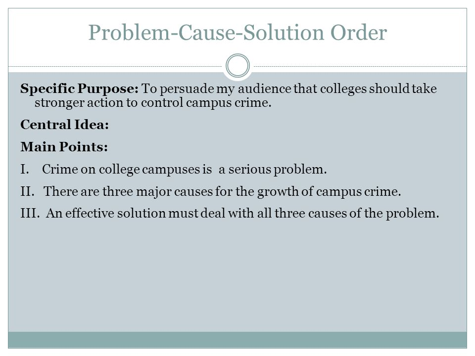 Problem-Cause-Solution Order