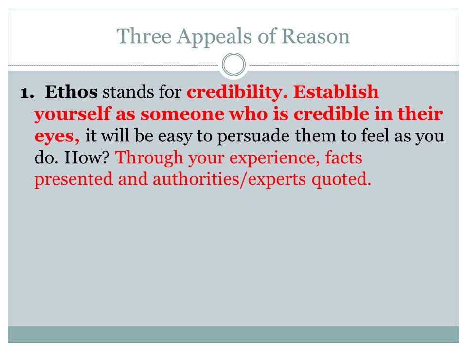 Three Appeals of Reason