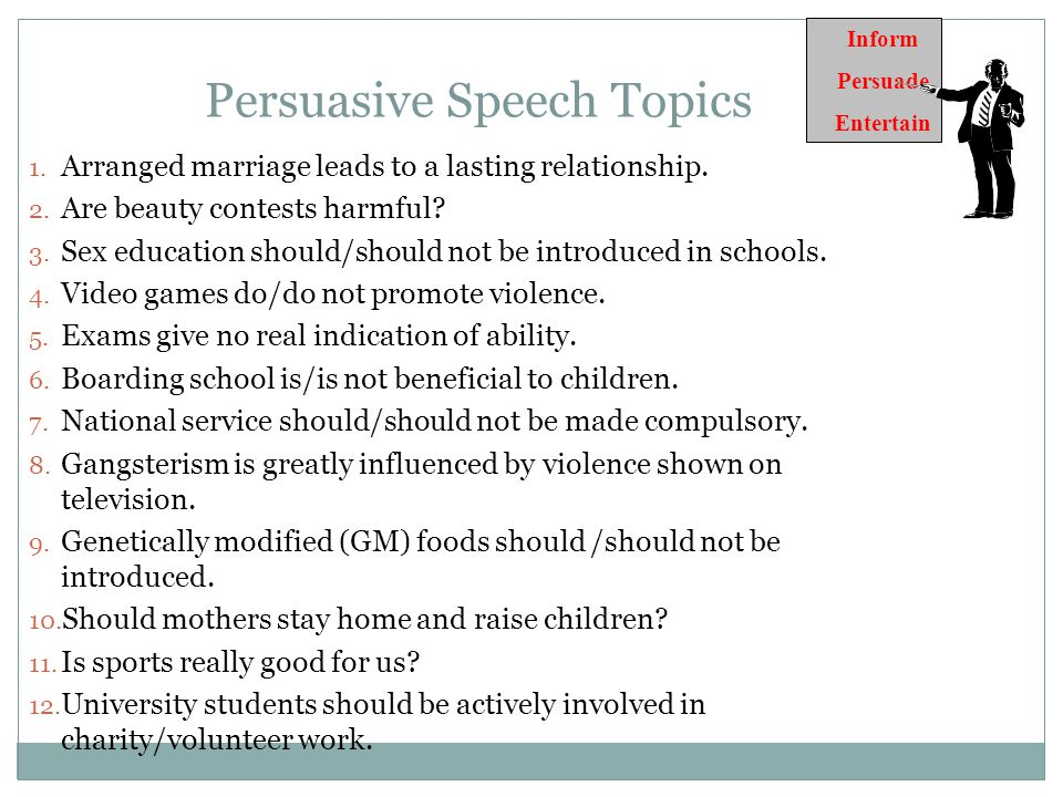 topic on informative speech Whether you are a sports aficionado or you are simply taking a class requiring you to write a speech on sports, you must have a solid topic established remember, the purpose of an informative speech is to give the audience information about a topic in a non-persuasive manner.