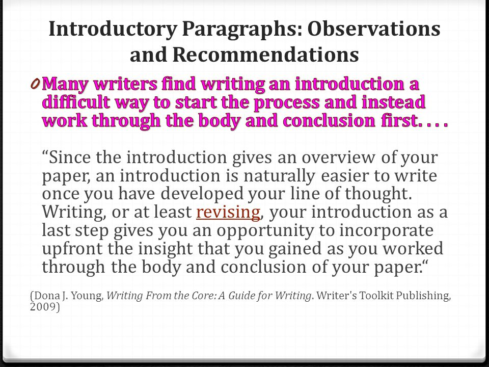 Introductory Paragraphs: Observations and Recommendations