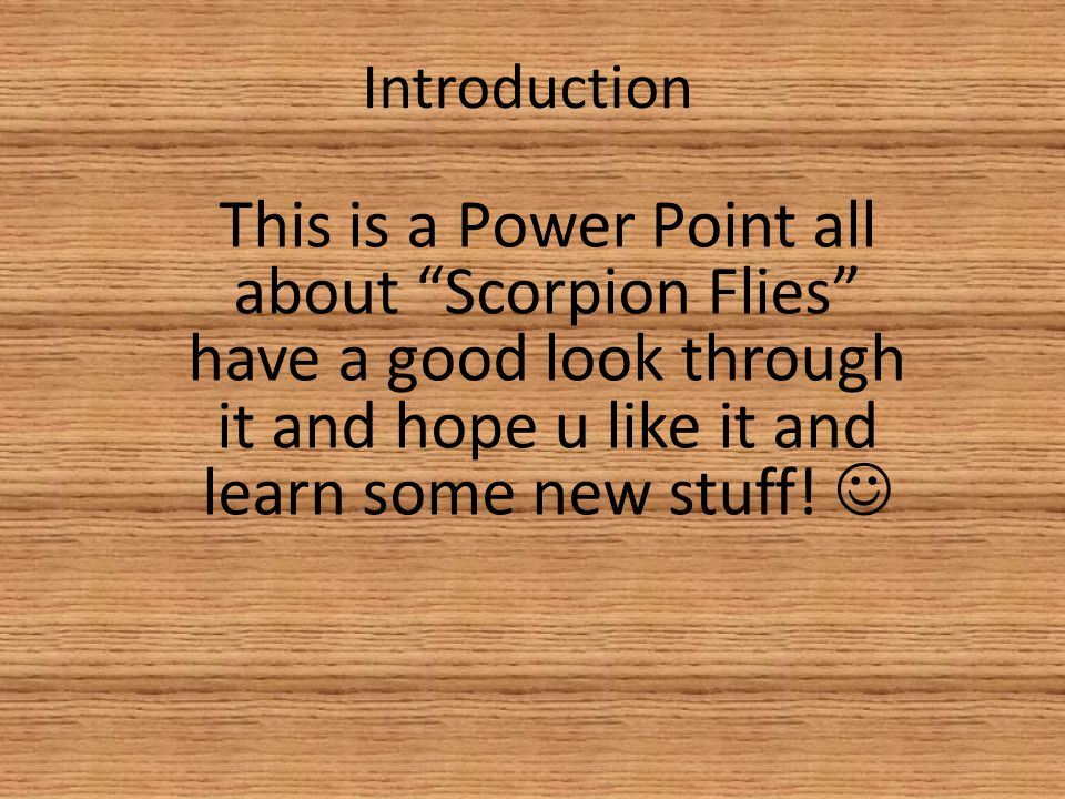 Introduction This is a Power Point all about Scorpion Flies have a good look through it and hope u like it and learn some new stuff.