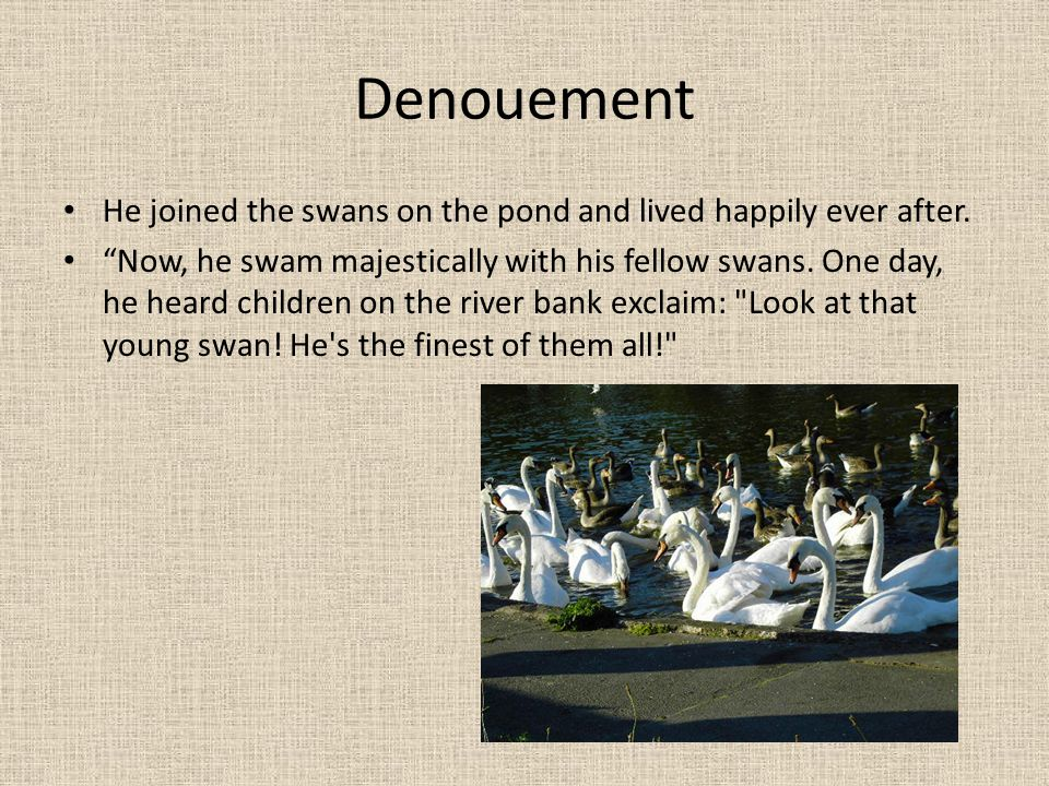 Denouement He joined the swans on the pond and lived happily ever after.